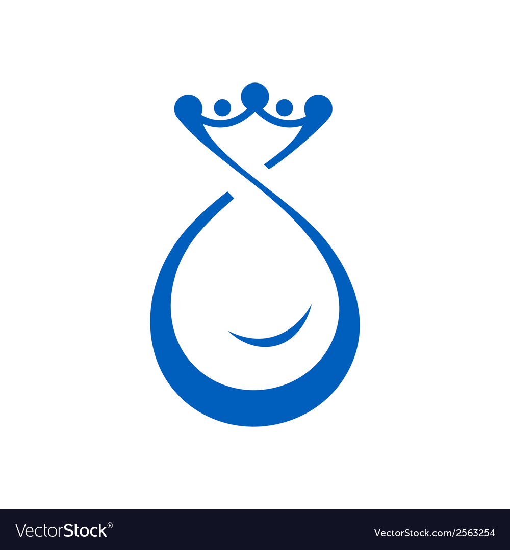 Drop of water with crown vector | Price: 1 Credit (USD $1)