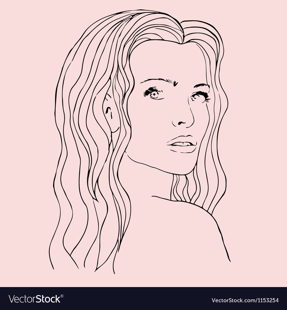 Fashion beautiful woman with long wavy hair vector | Price: 1 Credit (USD $1)