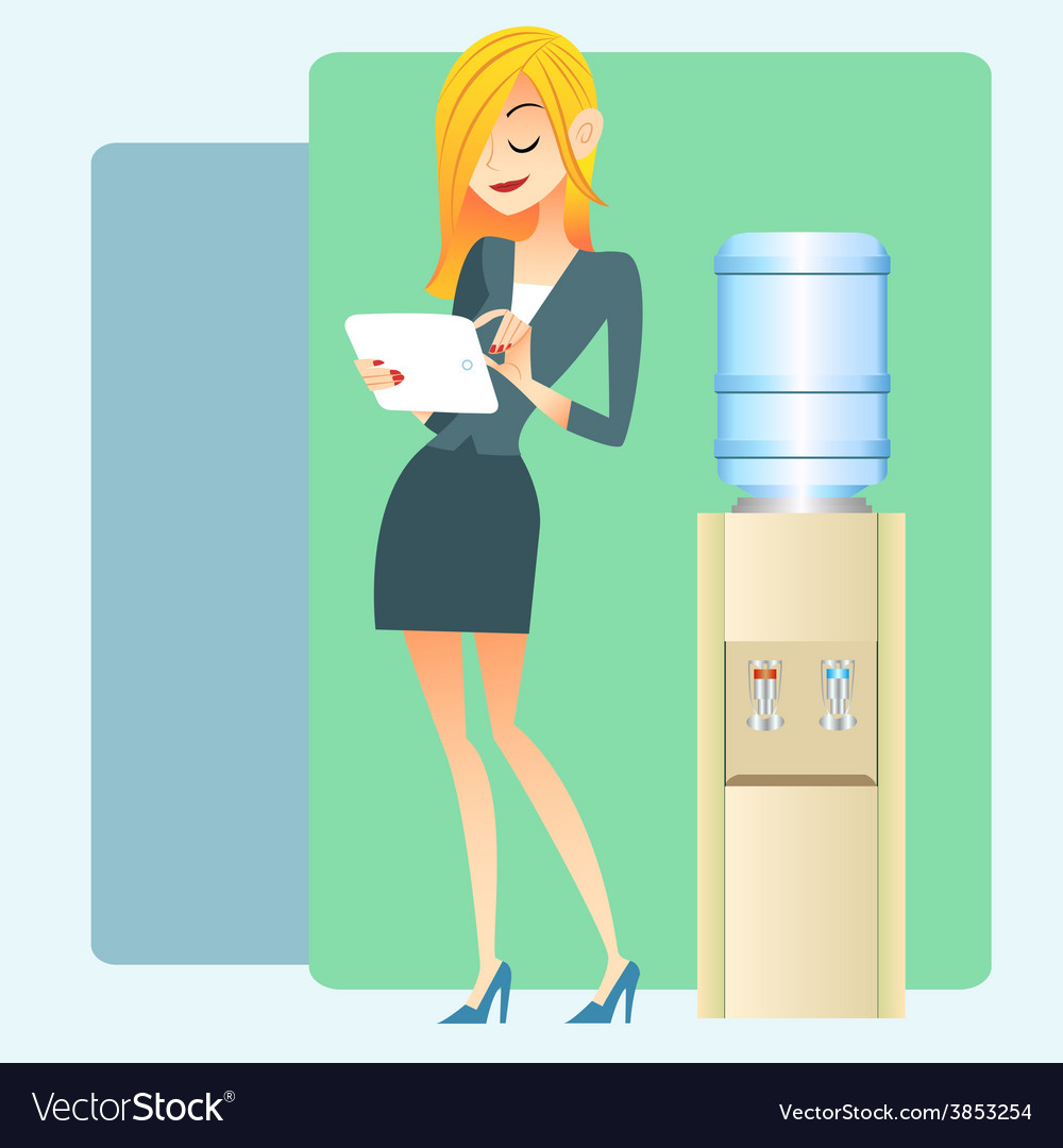 Girl office water cooler computer tablet vector | Price: 1 Credit (USD $1)