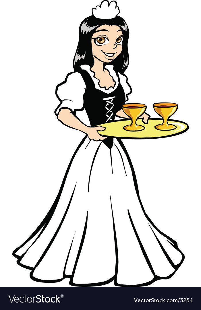 Historical serving maid vector | Price: 3 Credit (USD $3)