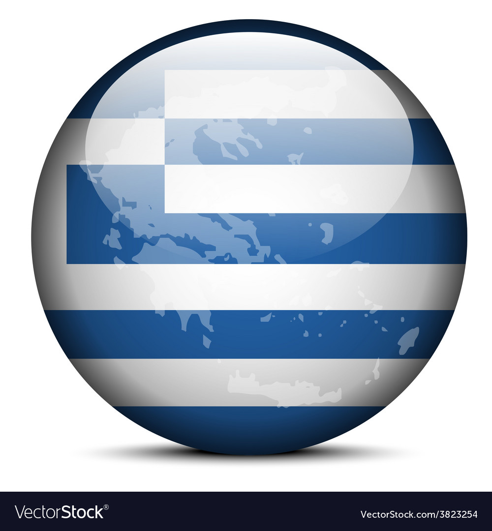 Map on flag button of hellenic republic greece vector | Price: 1 Credit (USD $1)