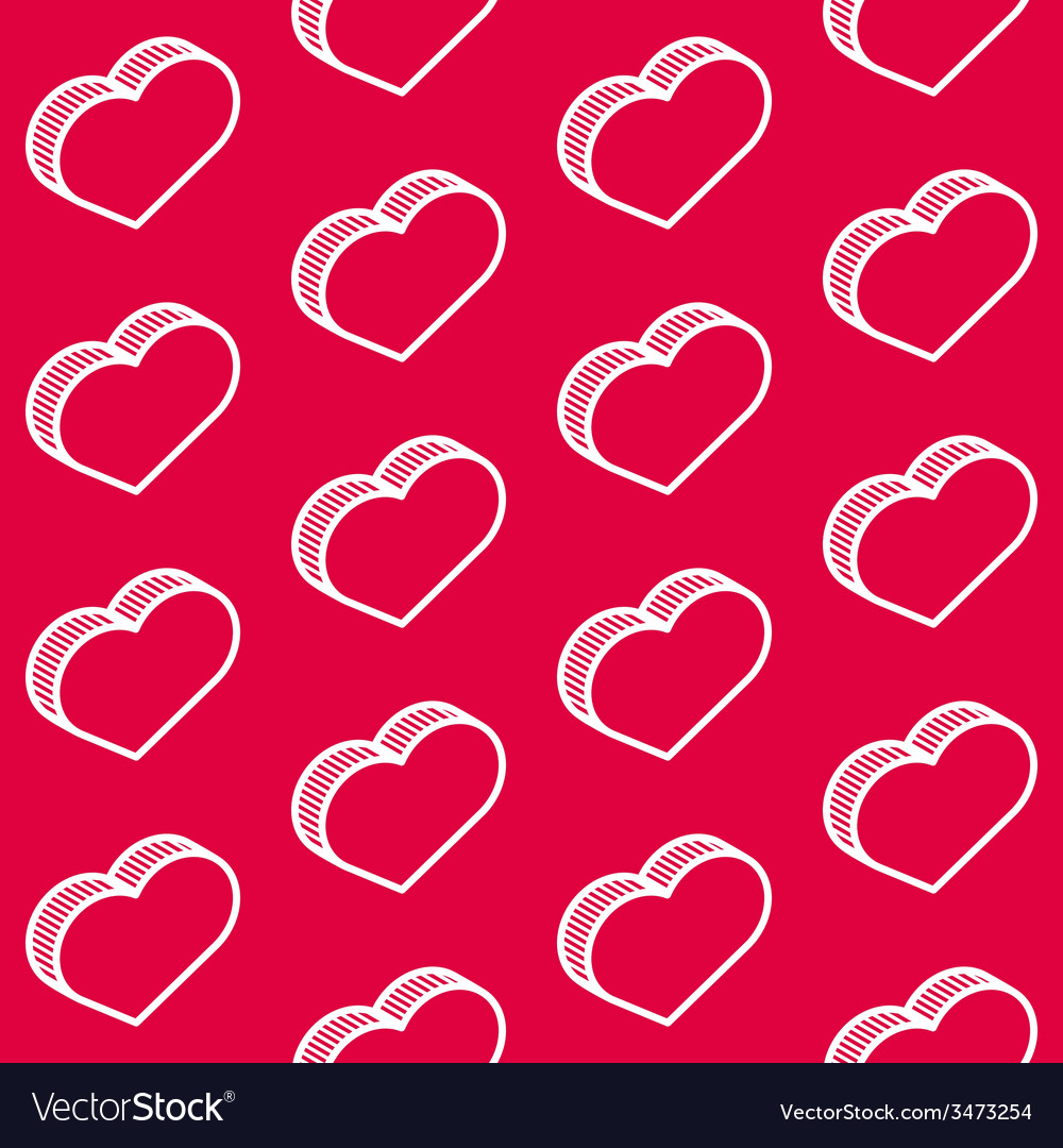 Seamless red pattern with isometric hearts vector | Price: 1 Credit (USD $1)