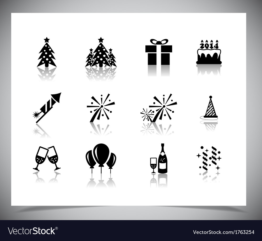 Set of black new year icons vector | Price: 1 Credit (USD $1)