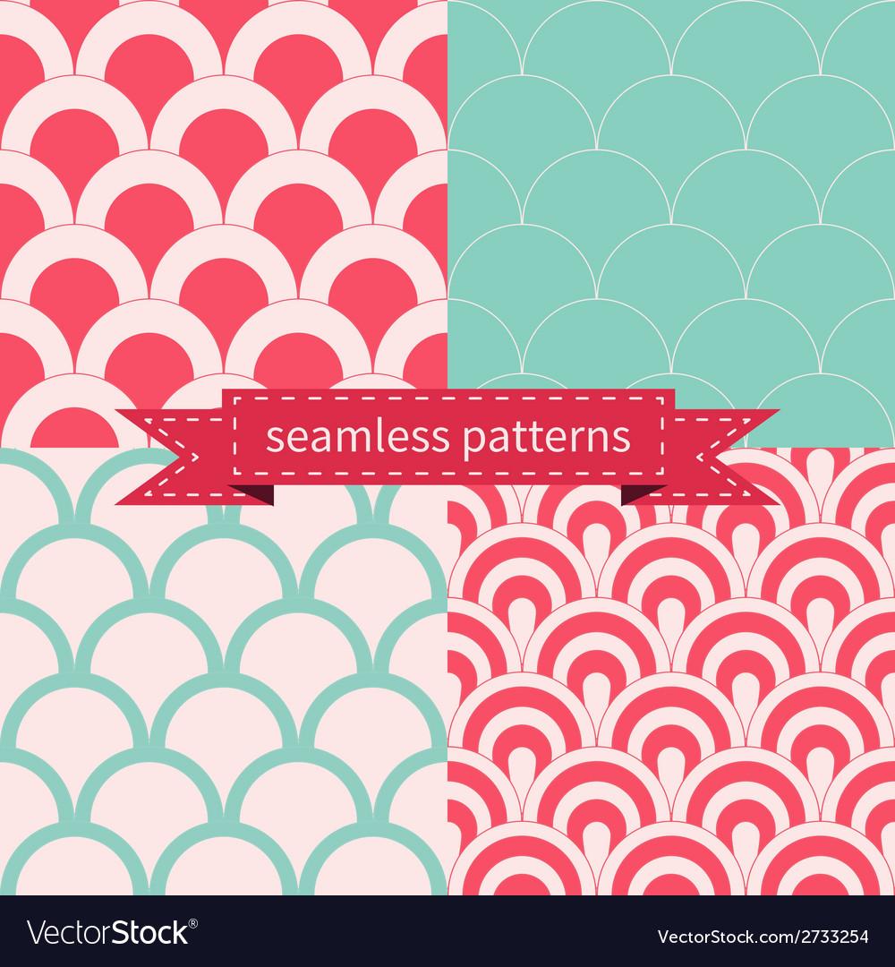 Set of seamless geometric patterns vector | Price: 1 Credit (USD $1)