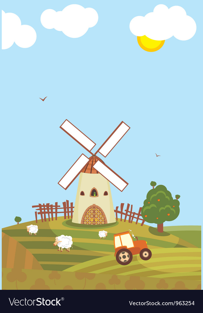 Summer windmill vector | Price: 1 Credit (USD $1)