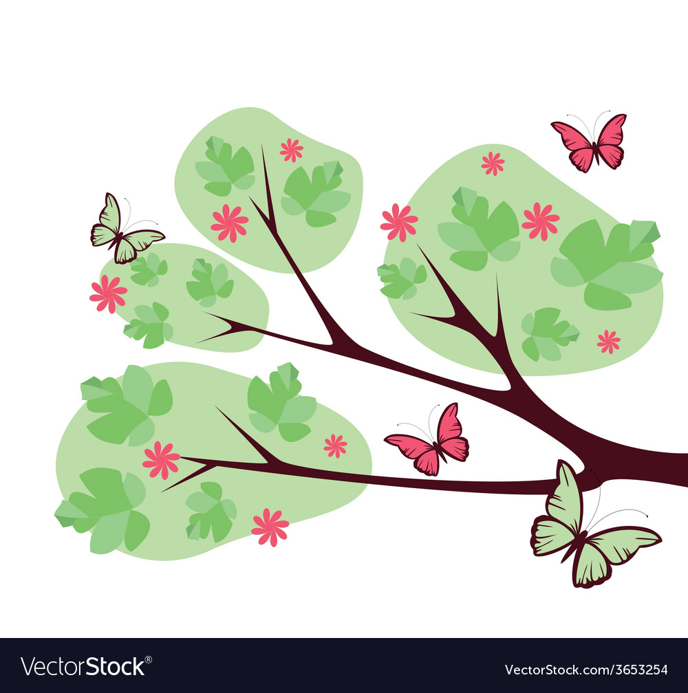 Tree-with-butterflies-and-flowers vector | Price: 1 Credit (USD $1)