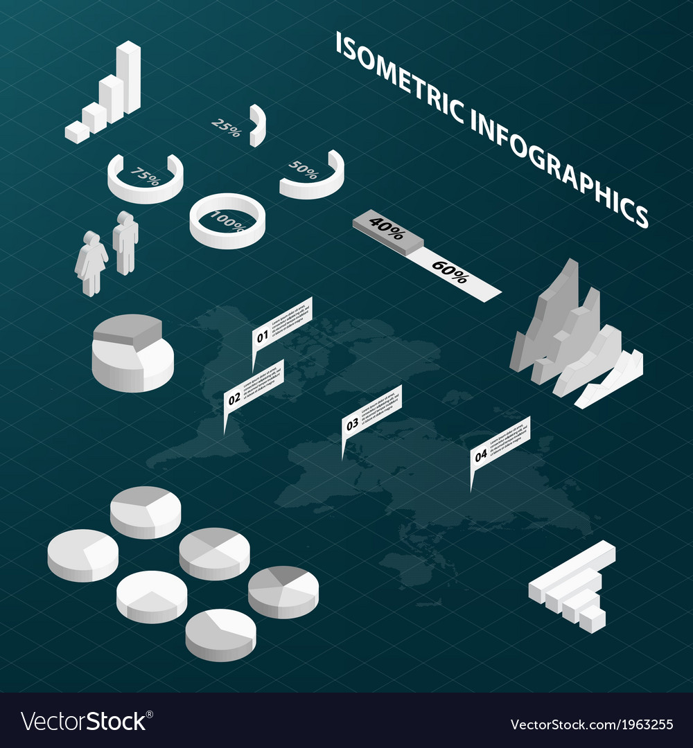 Abstract isometric business infographics vector | Price: 1 Credit (USD $1)
