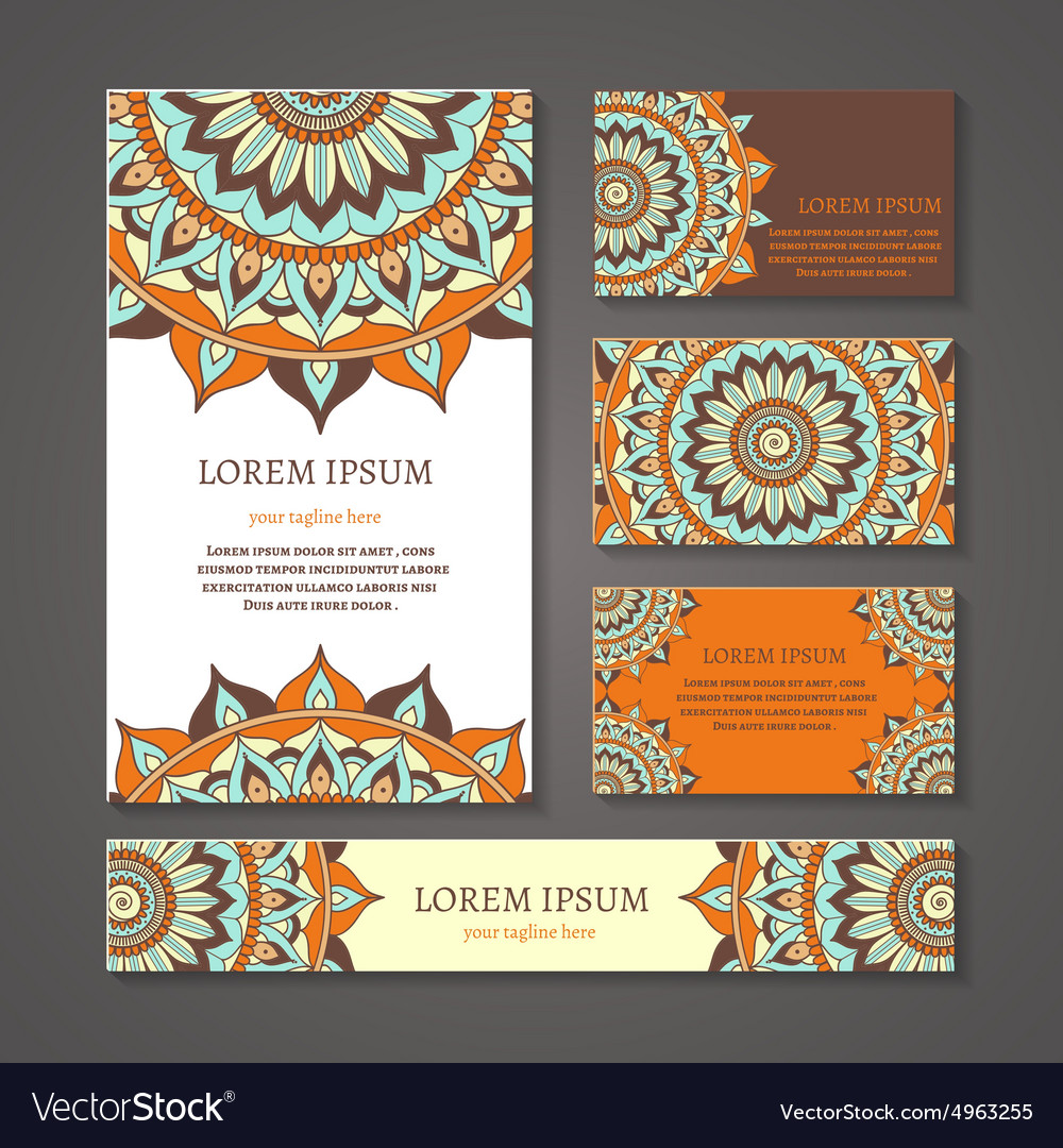Banners and business cards with arabic or indian vector