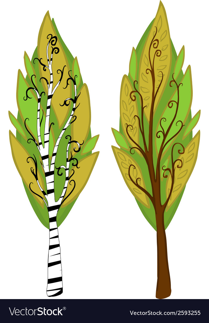 Cartoon trees isolated vector   Price: 1 Credit (USD $1)