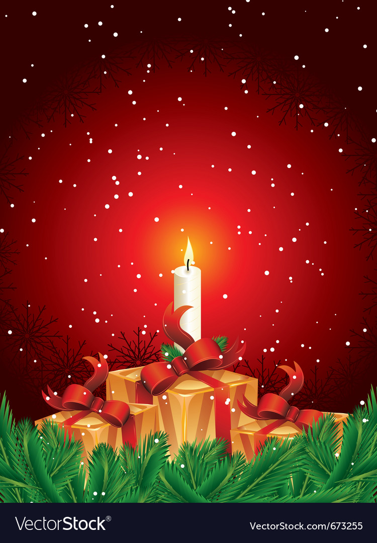 Christmas gift packages with candle and pine leave vector | Price: 1 Credit (USD $1)