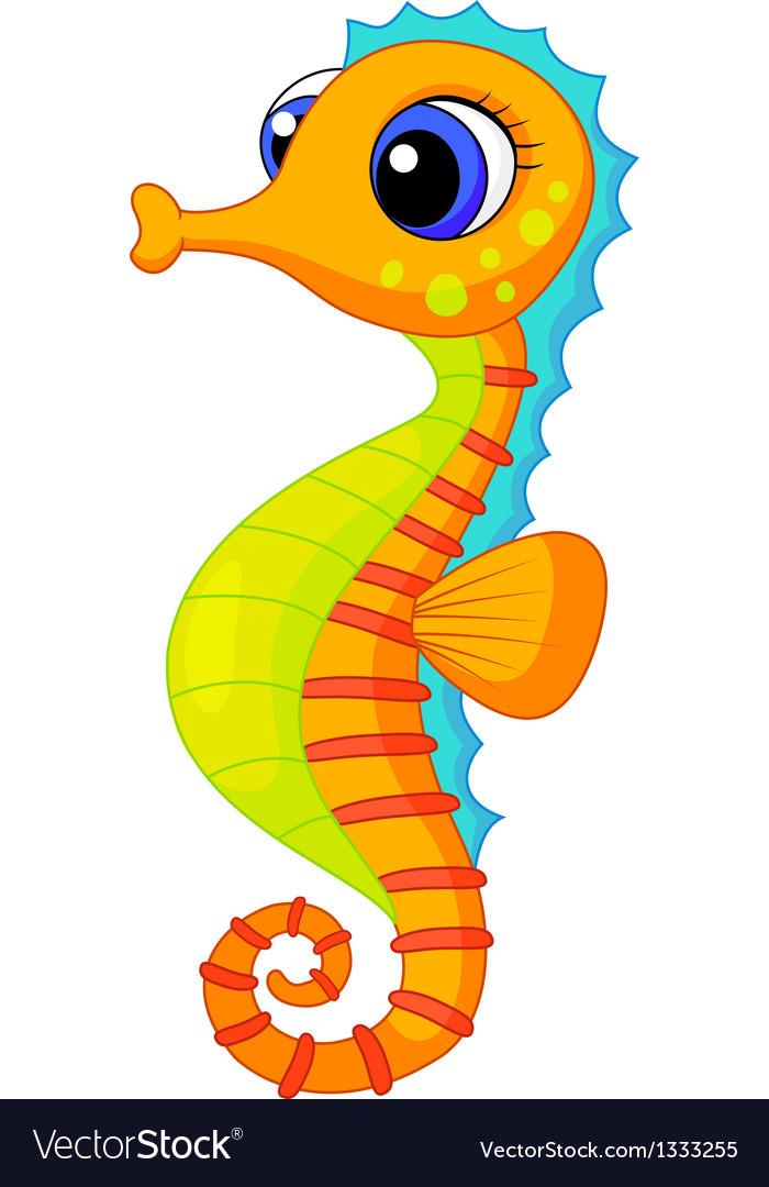 Cute seahorse cartoon vector | Price: 1 Credit (USD $1)