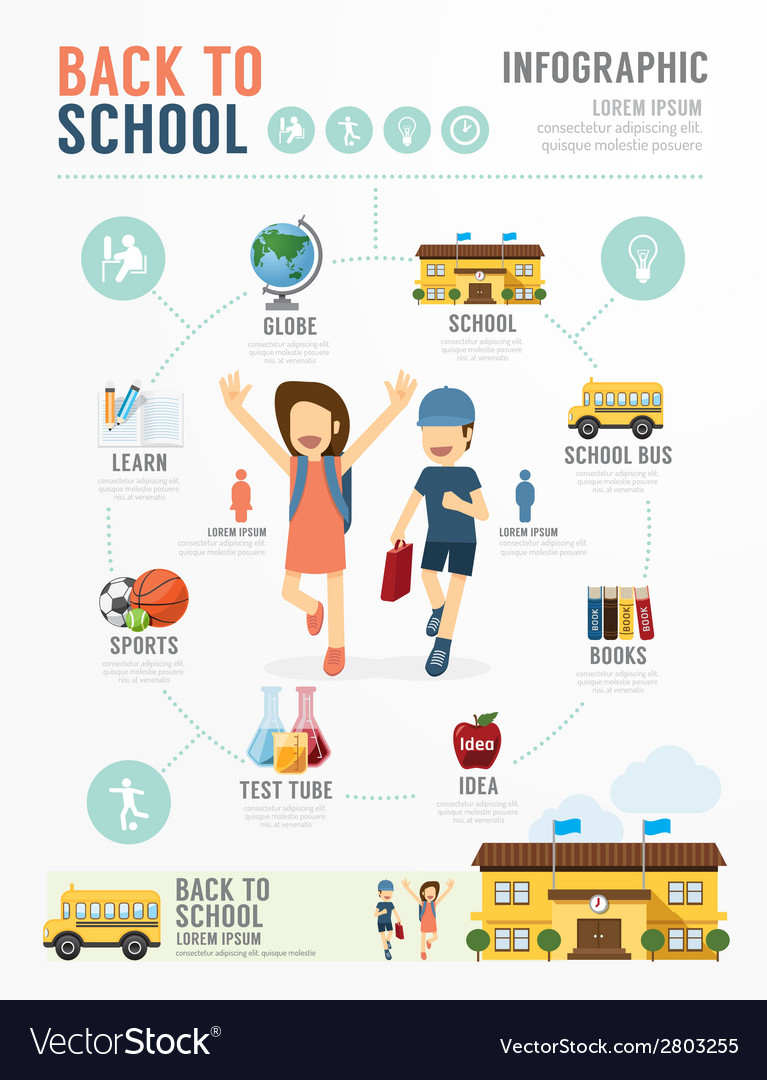 Education school template design infographic vector | Price: 1 Credit (USD $1)