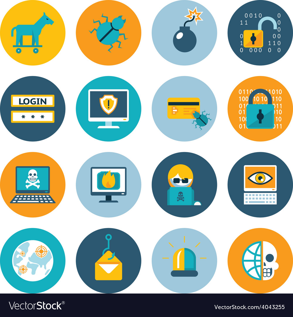 Hacker flat icons vector | Price: 1 Credit (USD $1)