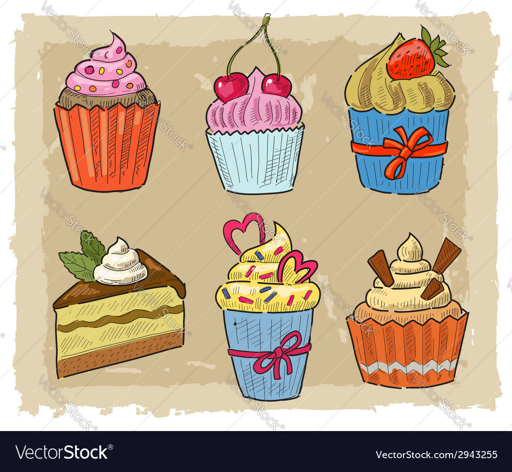 Hand drawn cupcake vector | Price: 1 Credit (USD $1)