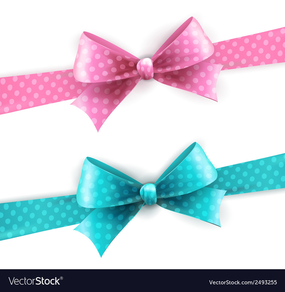 Isolated blue and pink polka dots bow vector | Price: 1 Credit (USD $1)