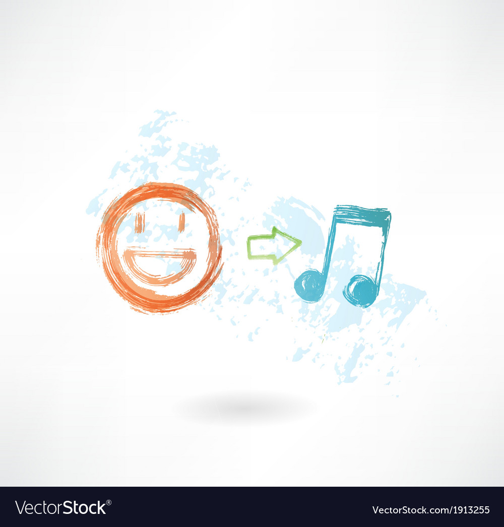 Music equals good mood grunge icon vector | Price: 1 Credit (USD $1)