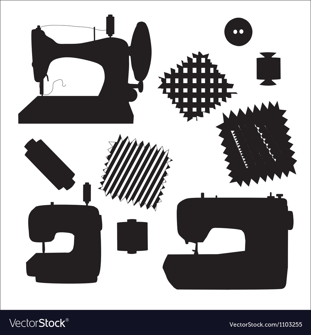 Sewing machines kit black silhouette vector | Price: 1 Credit (USD $1)