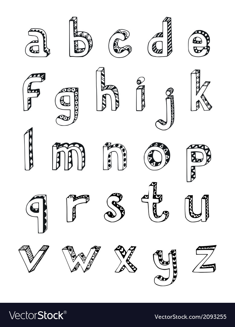 Sketch alphabet small letters vector | Price: 1 Credit (USD $1)
