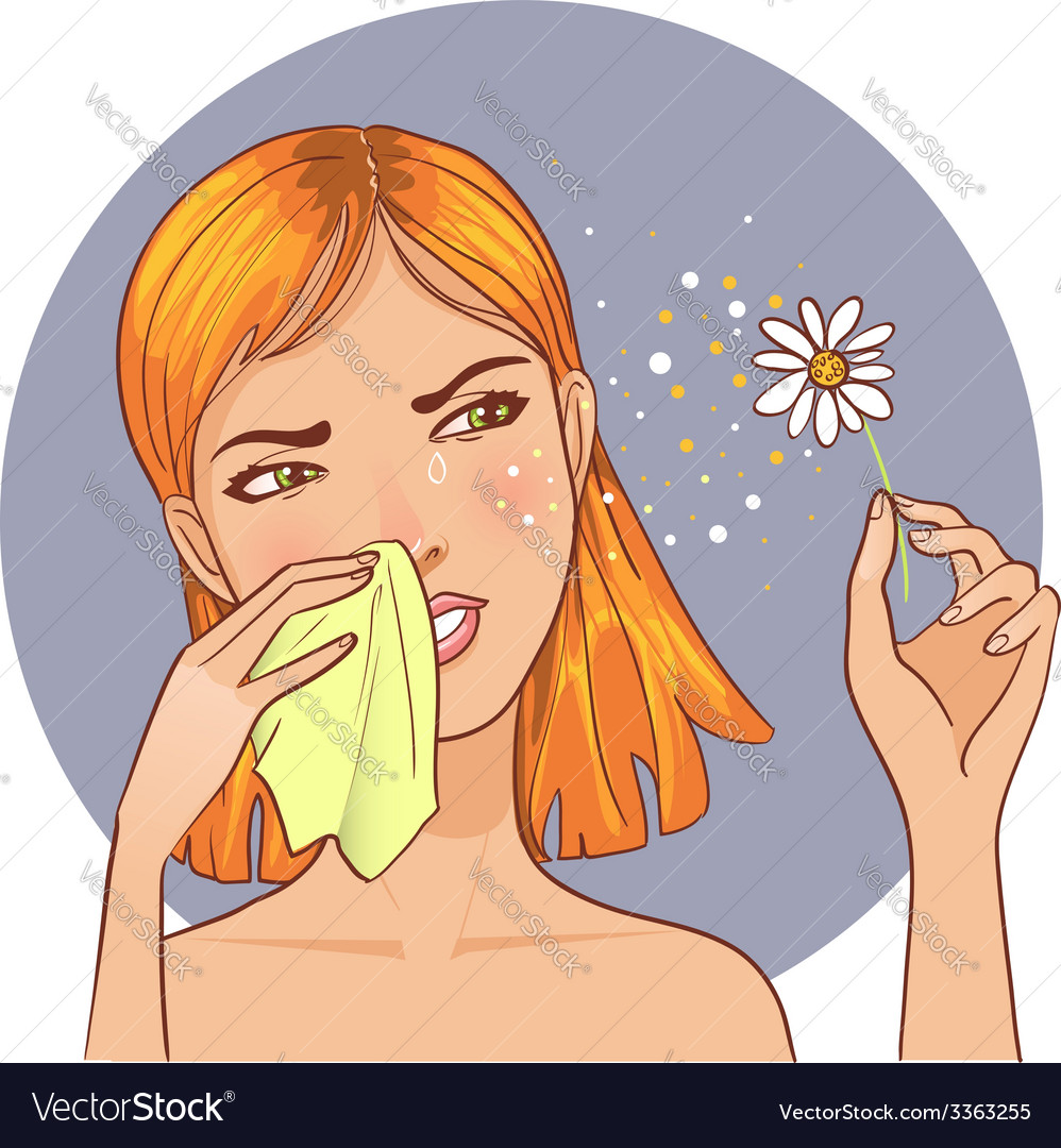 Sneezing in handkerchief woman because of allergy vector | Price: 1 Credit (USD $1)