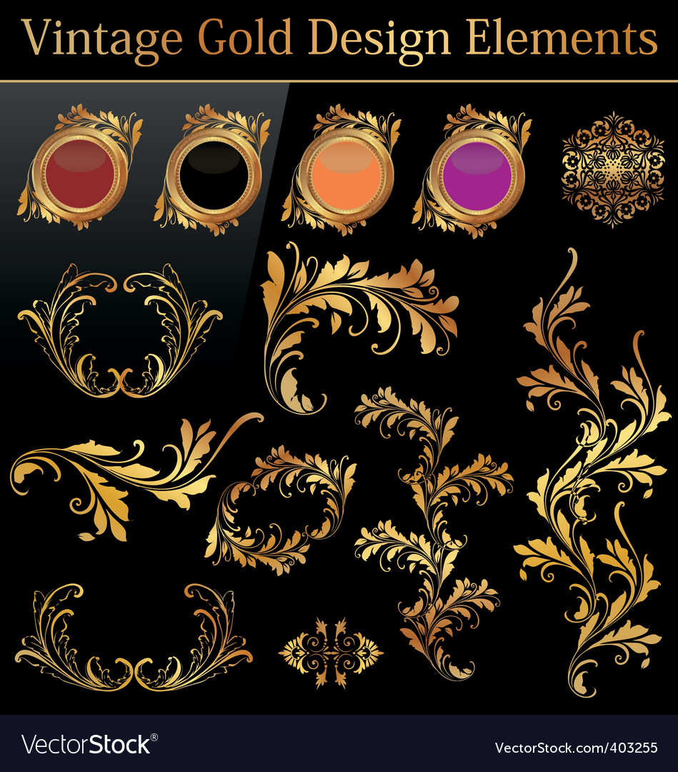 Vintage gold design element vector | Price: 1 Credit (USD $1)