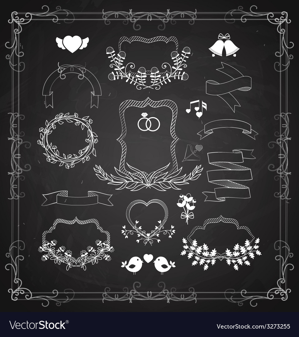 Wedding graphic set with wreaths and ribbons vector   Price: 1 Credit (USD $1)
