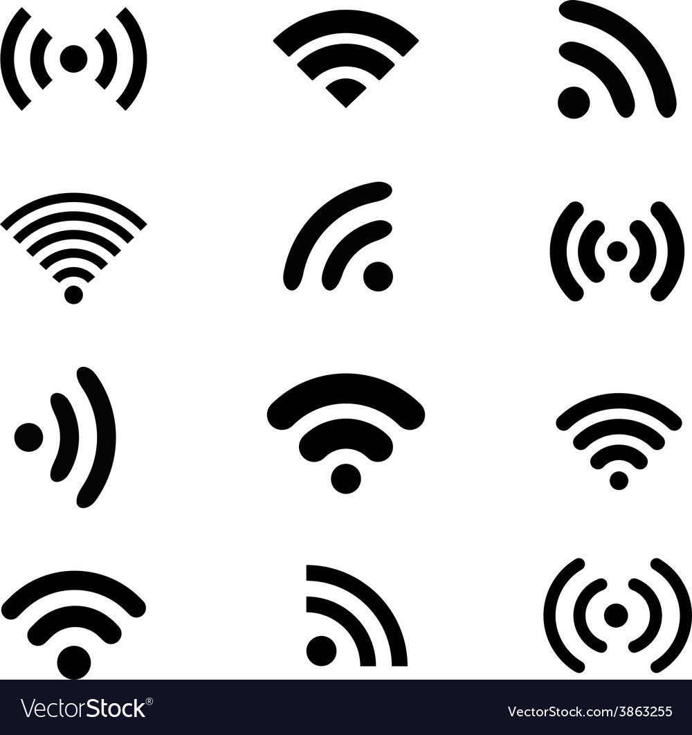 Wireless technology black web icons set vector | Price: 1 Credit (USD $1)