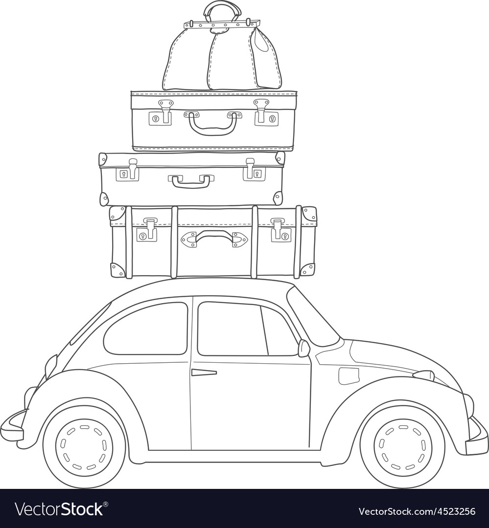 Auto travel retro car with luggage on the roof vector | Price: 1 Credit (USD $1)