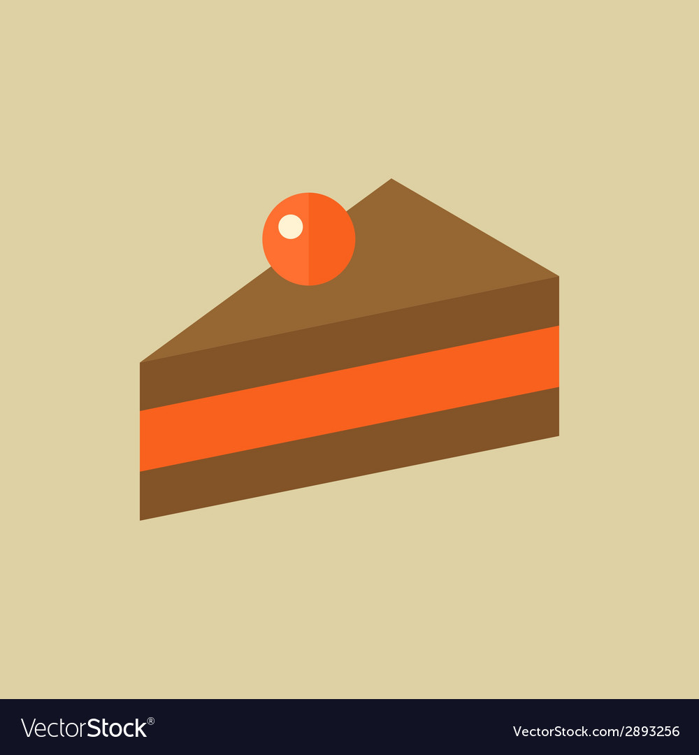 Cake food flat icon vector | Price: 1 Credit (USD $1)
