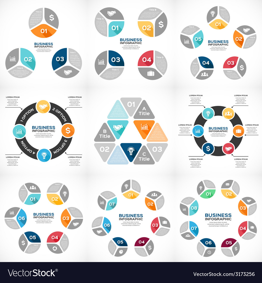 Circle infographics set template for diagram graph vector | Price: 1 Credit (USD $1)