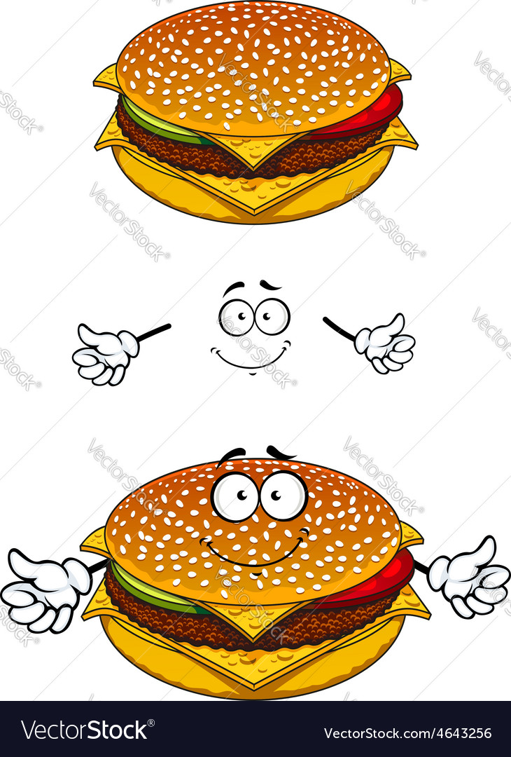Delicious tasty sesame cheeseburger character vector | Price: 1 Credit (USD $1)