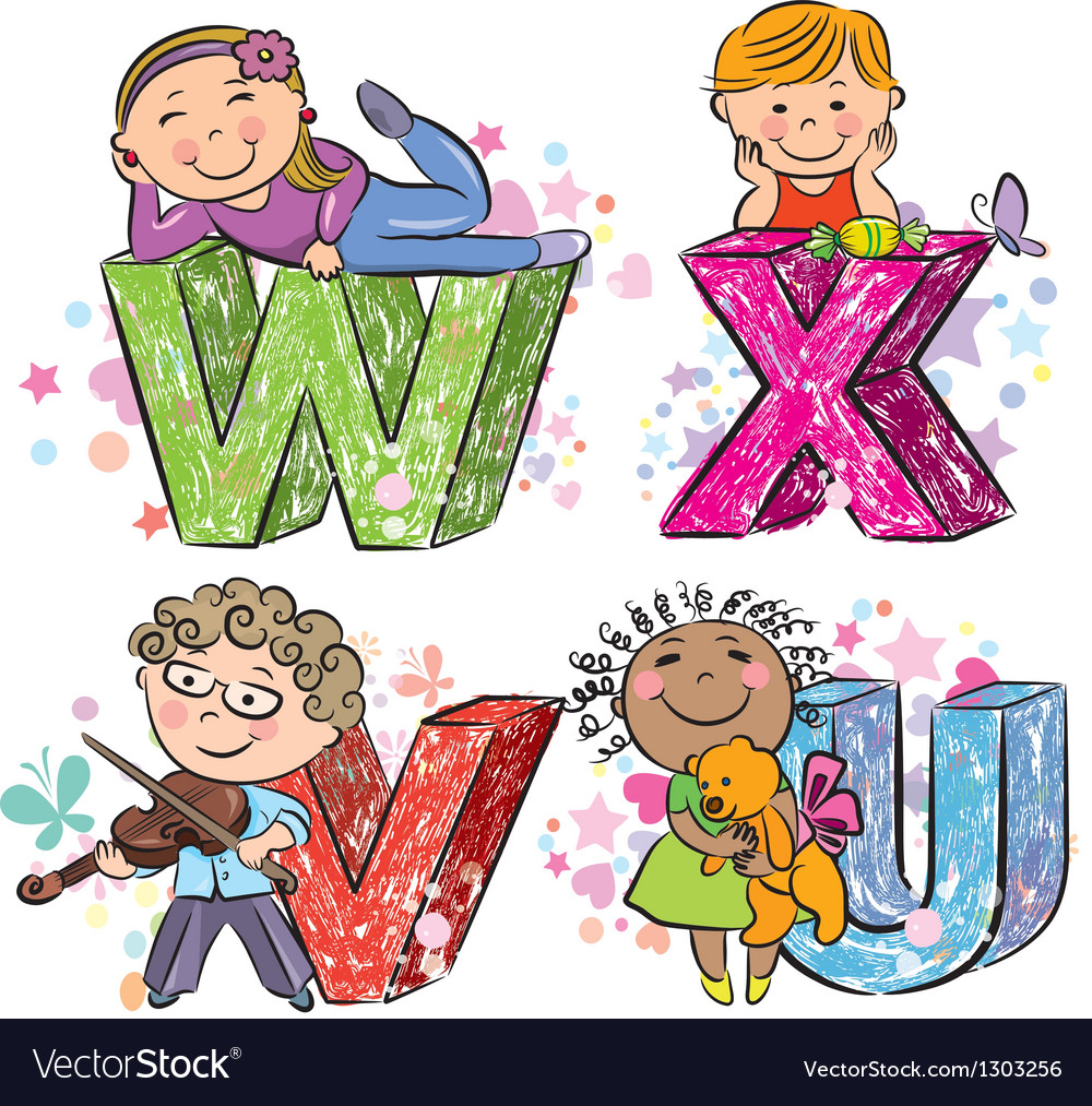 Funny alphabet with kids vwxu vector | Price: 1 Credit (USD $1)