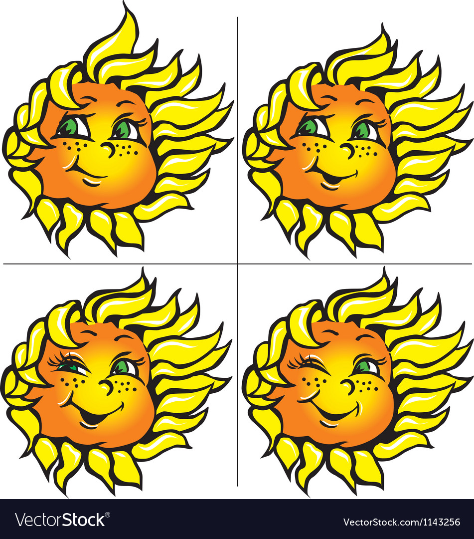 Funny sunflowers with a smile vector | Price: 1 Credit (USD $1)