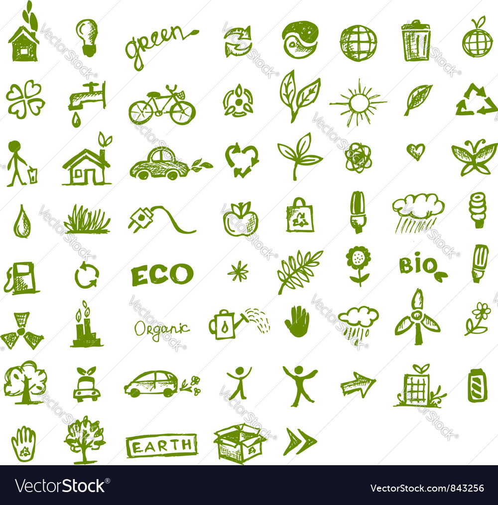 Green ecology icons vector | Price: 1 Credit (USD $1)
