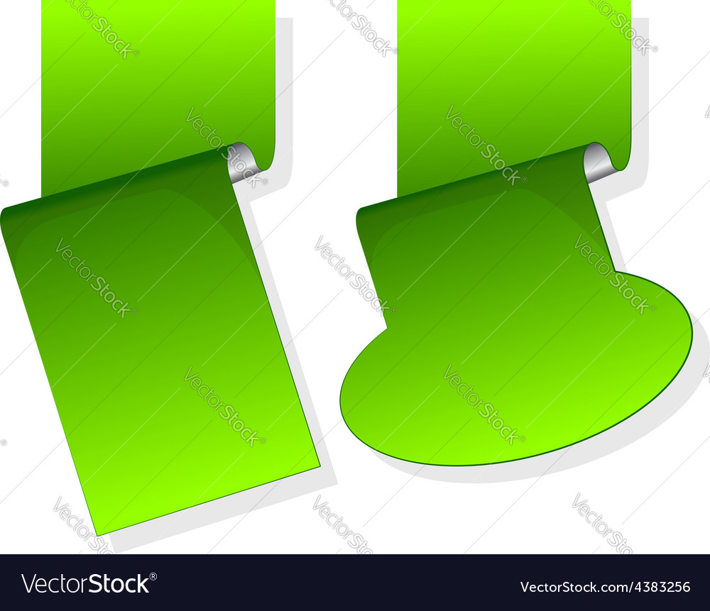 Green sticker with curled up edge vector | Price: 1 Credit (USD $1)