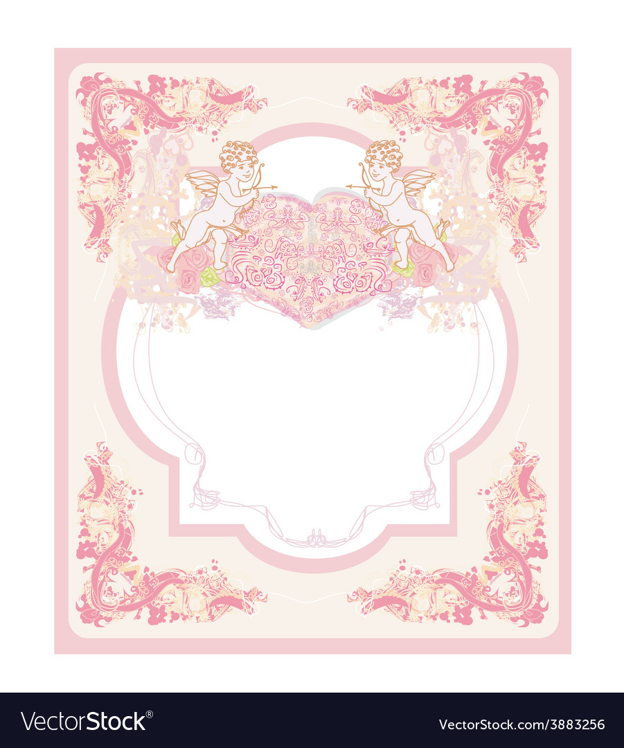 Happy valentines day vintage card with cupids vector | Price: 1 Credit (USD $1)