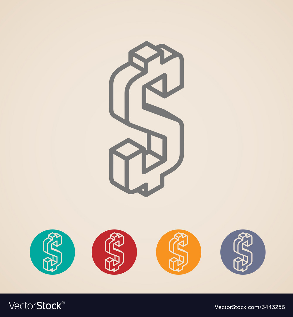 Isometric icons with dollar sign vector | Price: 1 Credit (USD $1)