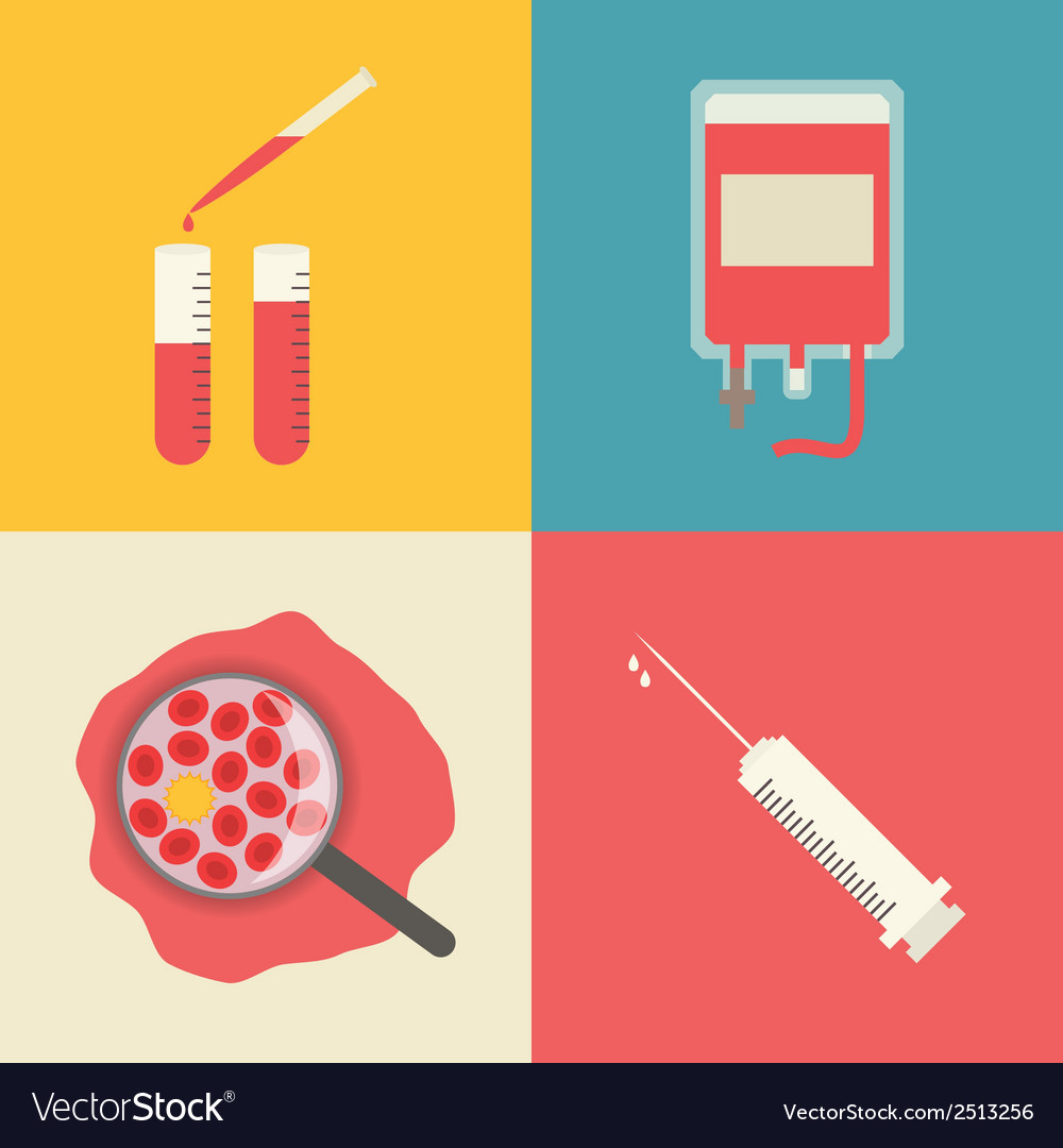 Medical icons set blood transfusion test tubes vector   Price: 1 Credit (USD $1)