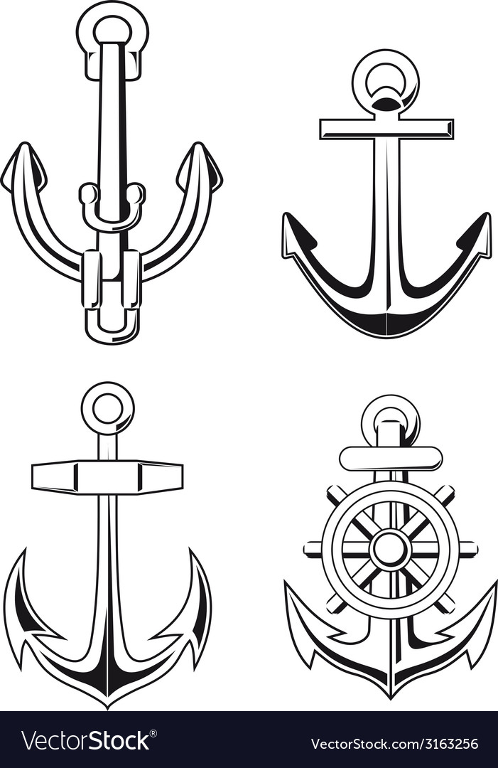 Set of anchors symbols vector | Price: 1 Credit (USD $1)