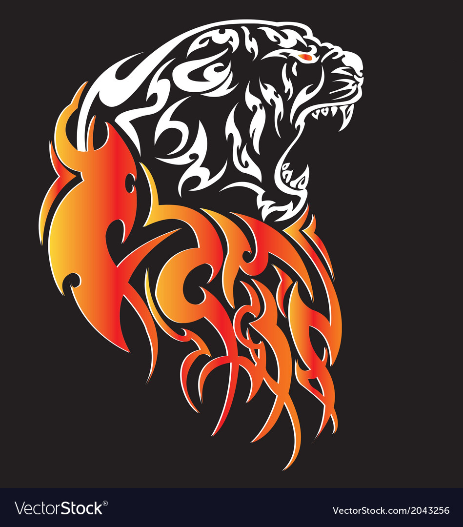 Tiger with fire tattoo stylish ornate vector | Price: 1 Credit (USD $1)