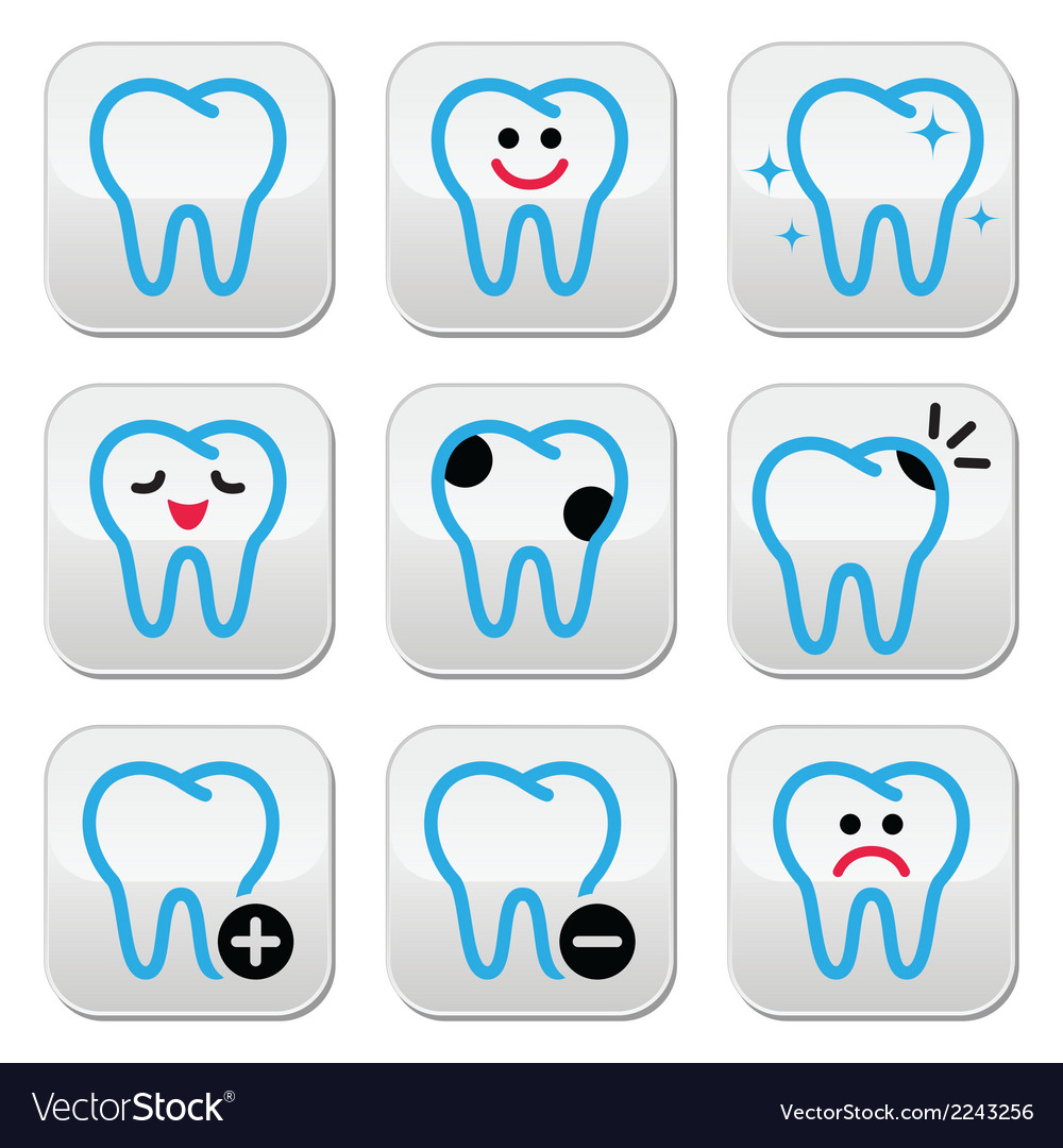 Tooth teeth icons set in color vector | Price: 1 Credit (USD $1)