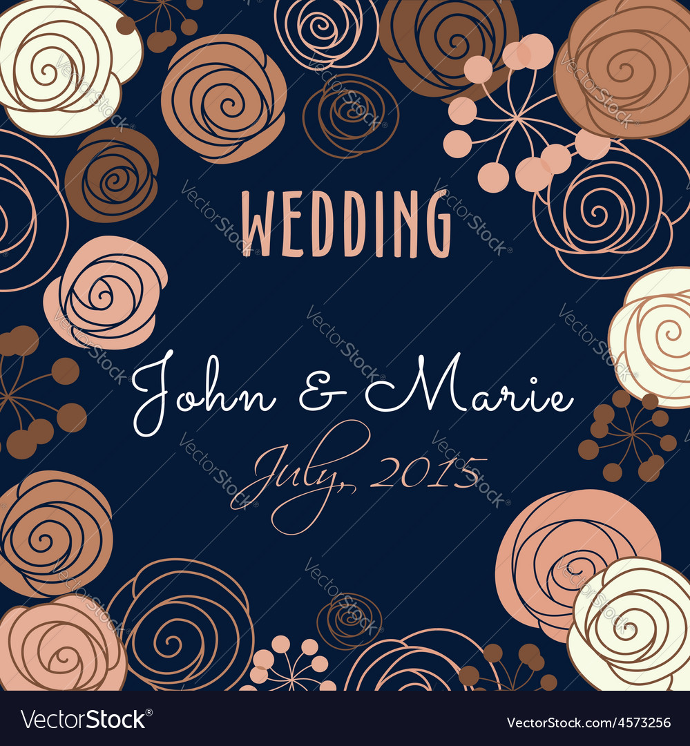 Wedding invitation template with floral elements vector | Price: 1 Credit (USD $1)