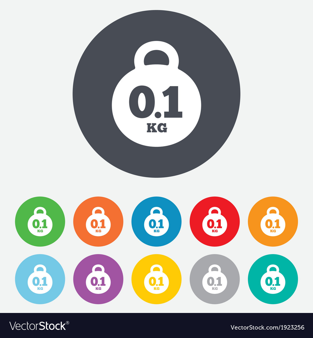 Weight sign icon 01 kilogram kg mail weight vector | Price: 1 Credit (USD $1)
