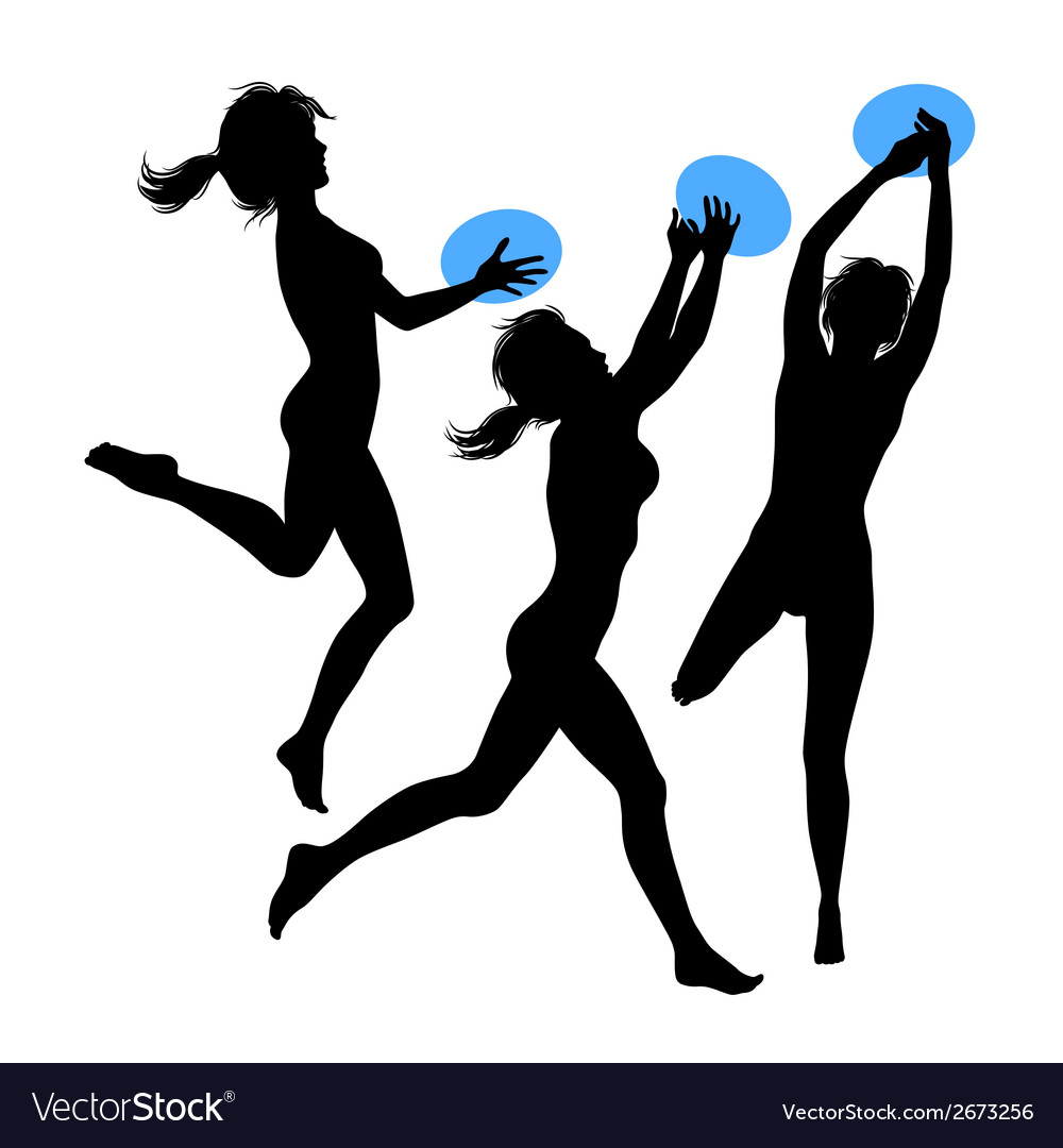 Young jumping girls silhouette vector | Price: 1 Credit (USD $1)