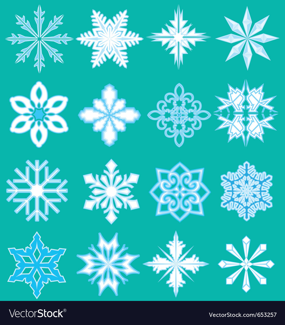 16 snowflakes vector | Price: 1 Credit (USD $1)