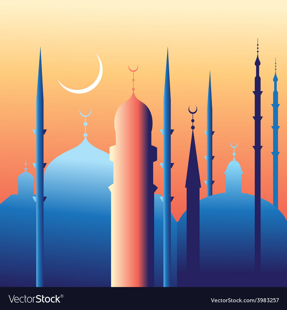 Beautiful mosques and minarets vector | Price: 1 Credit (USD $1)