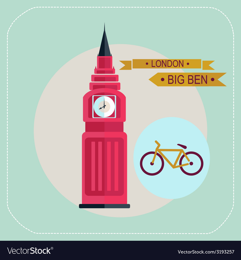 Big ben bike icon flat vector | Price: 1 Credit (USD $1)