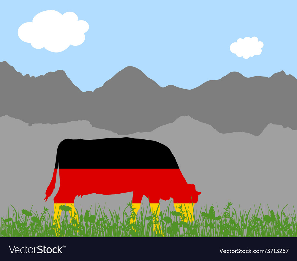 Cow alp and german flag vector | Price: 1 Credit (USD $1)