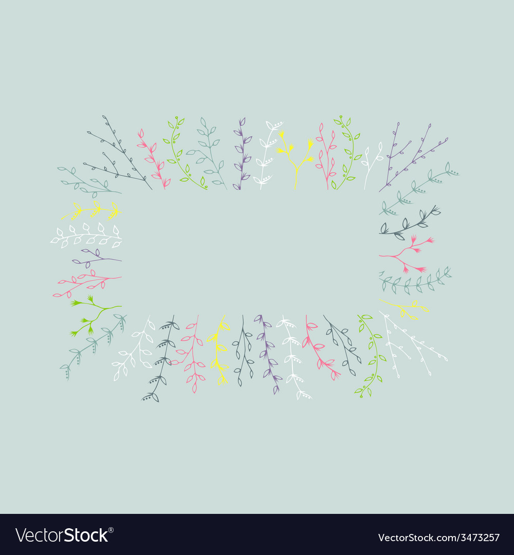 Hand-drawn branches frame background vector | Price: 1 Credit (USD $1)