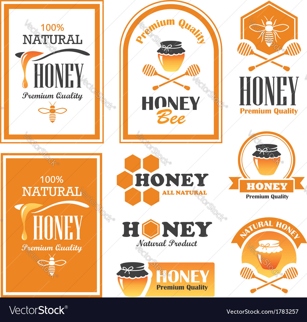 Honey labels vector | Price: 1 Credit (USD $1)