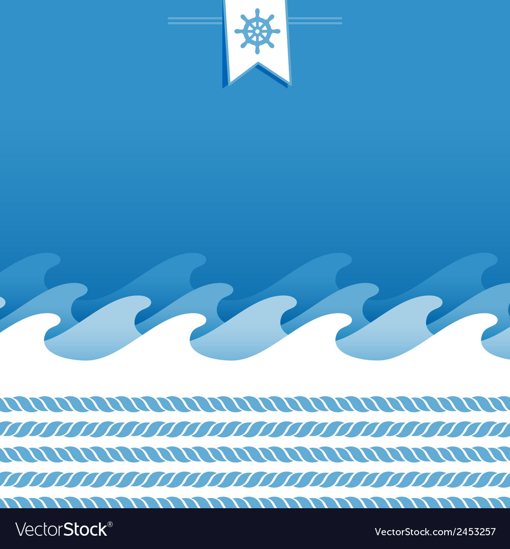 Marine background with sea wave and ropes vector | Price: 1 Credit (USD $1)